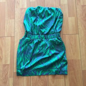 Bar III Green and Blue Mini Dress Medium